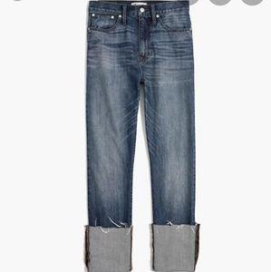 Madewell Rigid straight crop jean distressed hem